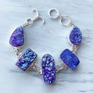 925 Sterling sterling silver purple druzy bracelet